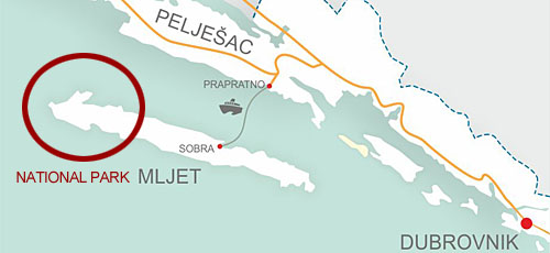 Prapratno to island Mljet car ferry map